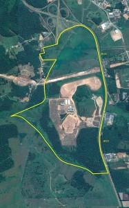 Figura 03 – Vista área do campus com os limites delimitados em amarelo.